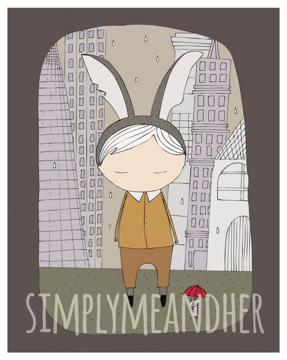 Hare Boy In The City. Wall art. kids Print. by simplymeandher