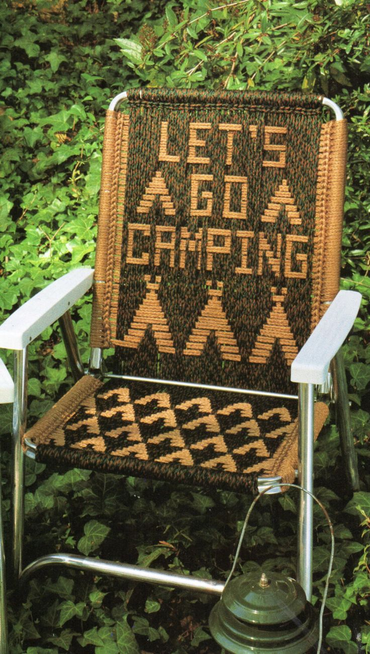 Lets Go Camping Macrame Lawn Chair Folding Chair Macrame Pattern 1970s Let's Go Camping Tent Chair Macrame Pattern  PDF Instant Download by PatternMuseum on Etsy https://www.etsy.com/listing/236375160/lets-go-camping-macrame-lawn-chair