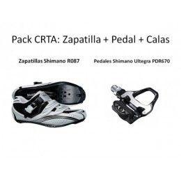 PACK CRTA: Compuesto por #Zapatillas #Shimano R087 Blanca, mas #Pedales #Shimano Ultegra PDR670, mas #calas #Shimano.  En tu tienda de #ciclismo online #bikepolis por sólo 120.28€