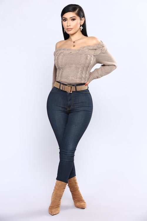 Knitted Tight Off Shoulder Sweater - Mocha