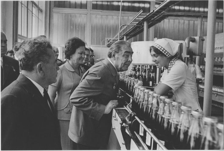 Brezhnev in the factory producing… PEPSI cola. Yes, Pepsi was lucky enough to sneak in to Soviet markets during the Brezhnev era. His buddy Nixon helped. The year is 1976.