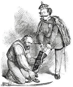 Caricature of Victor Emmanuel's leg filling the 'boot' of Italy with the aid of Garibaldi