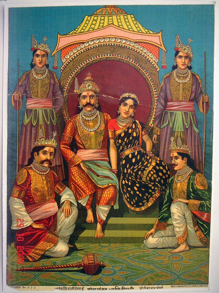 Draupadi with her five husbands - the Pandavas. The central figure is Yudhishthira; the two on the bottom are Bhima and Arjuna. Nakula and Sahadeva, the twins, are standing.  Painting by Raja Ravi Varma, c. 1900.