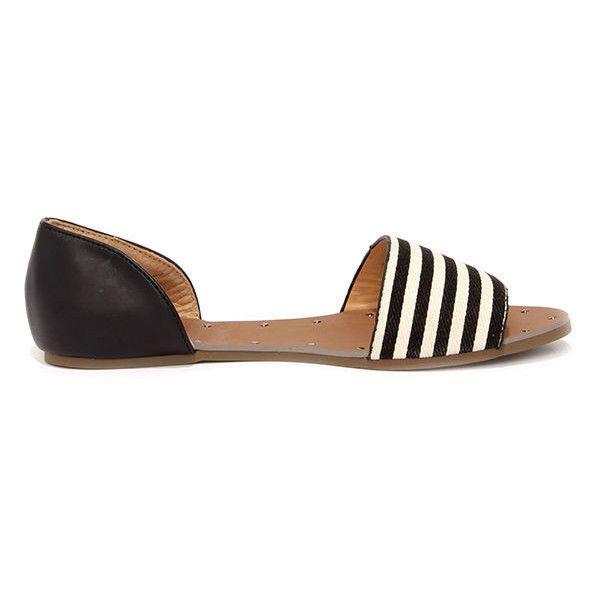 Atlantic Seaboard Striped Black Peep Toe Flats ($23) ❤ liked on Polyvore featuring shoes, flats, black flats, peep-toe shoes, peep toe flats, peep toe shoes and black peep toe shoes