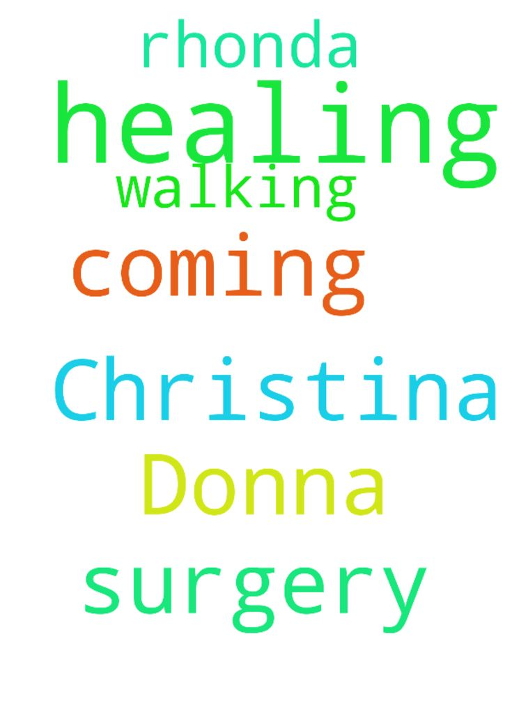 Prayer for healings for Christina , Donna surgery coming - Prayer for healings for Christina , Donna surgery coming up amp; Rhonda walking and healing . Thank you for all your prayers .  Posted at: https://prayerrequest.com/t/P5i #pray #prayer #request #prayerrequest