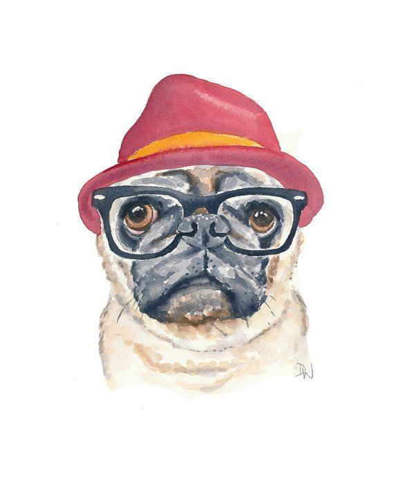 Pug acuarela grabado  perro Hipster Hipster por WaterInMyPaint, $18.00