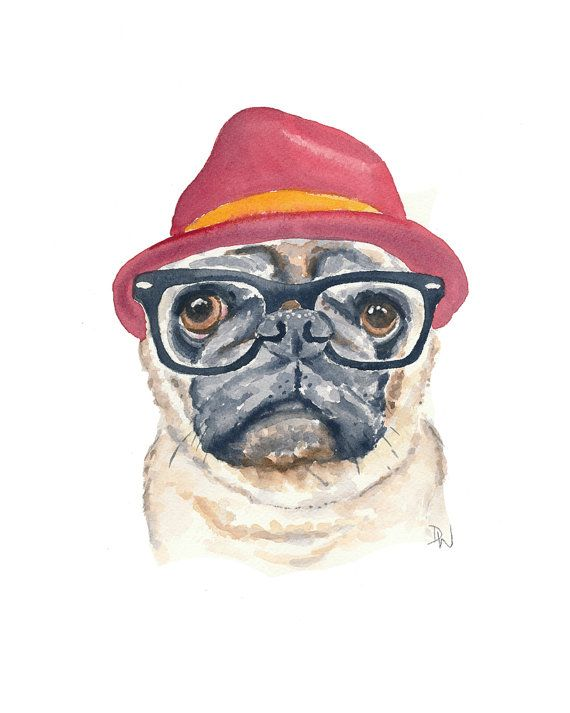Pug Watercolor Painting Print - Hipster Dog, Hipster Animal, 8x10 Print, Funny Watercolour on Etsy,