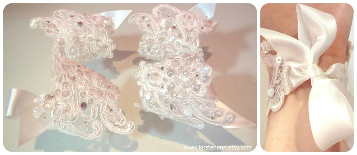 Bridesmaids lace cuff bracelets made by www.kirstenann.etsy.com