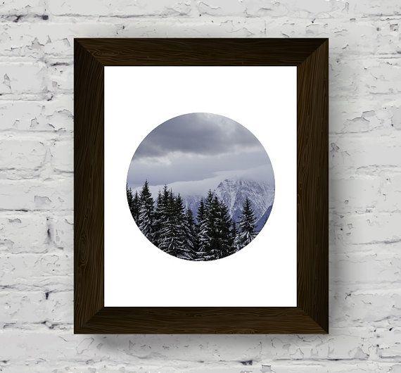 stampa d'arte parete di montagna foto di nebbia