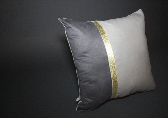 Color Block Grey & Gold Pillow 16x16 by DandyFunk on Etsy