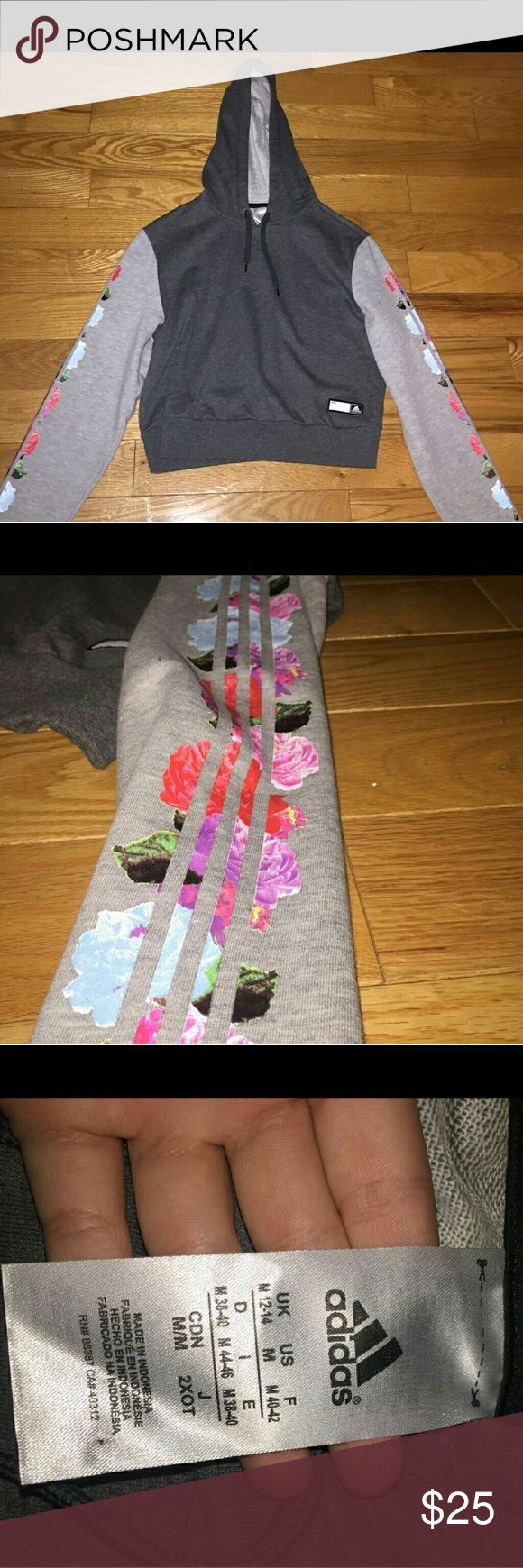 Adidas Floral Hoodie In good condition. Adidas floral hoodie. No piling or cracking of the design. Adidas Tops Sweatshirts & Hoodies