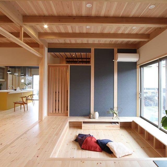 新築施工例 一段下がりのリビングの家 注文住宅 工務店 一戸建て