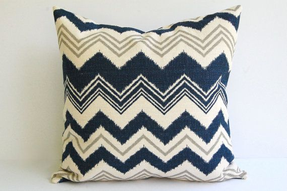 Navy and Natural pillow cover One 20 x 20 Zazzle zig zag chevron stripe in navy natural and gray grey. $21.00, via Etsy.
