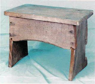 The elm boarded stool from the Mary Rose. The standing panels are slightly notched to accomodate the side boards. These are nailed to the uprights. Image scanned from 'Chapter 9 Plain and Functional: Furniture on the Mary Rose' by V. Chinnery in 'Before the mast: life and death aboard the Mary Rose'.