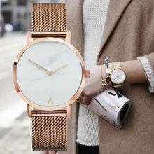 Fashion Brand De Luxe Minimalist Marble Style Stainless Steel Watch Leather Strap Simple Women Dress Quartz Wrist Watch (China (Mainland))