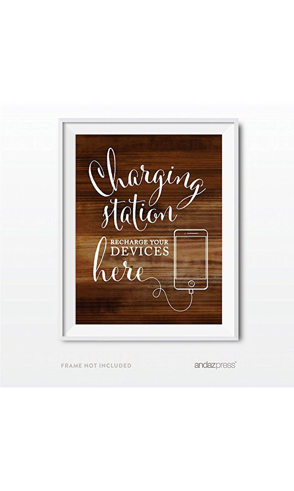 Andaz Press Wedding Party Signs, Rustic Wood Print, 8.5x11-inch, Charging Station Snap Chat, Instagram and Tweet Away, Recharge Your Phone Here Sign, 1-Pack Best Price