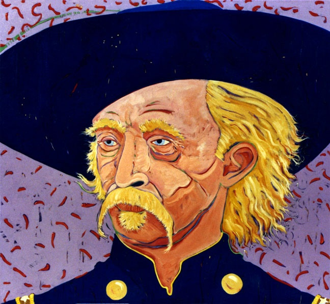 """Steven Rosser """"Blue Custer"""" Oil on Canvas, 48"""" x 52"""", Private Collection."""