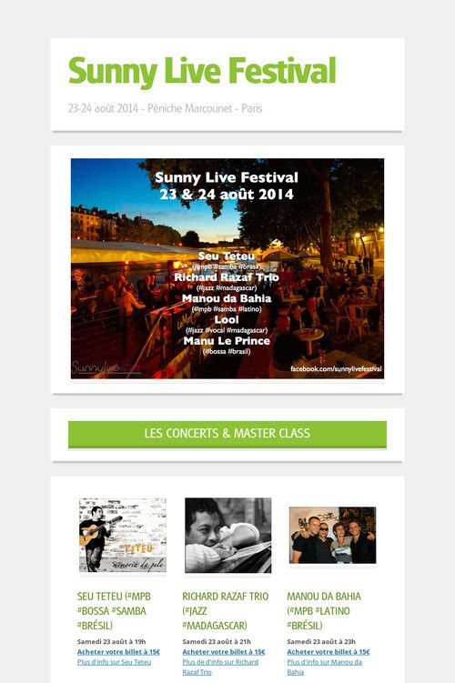 23 & 24 Août 2014 #SunnyLiveFestival  100% #jazz do #brasil & #madagascar + #samba #bossa Péniche Marcounet - Paris (Metro Pont-Marie / Ligne 7)