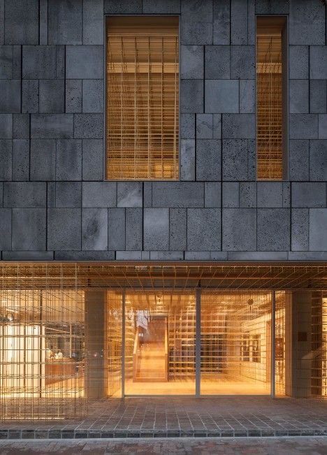 Store Facade Stone Interior Metall Grid Sulwhasoo Flagship Store by Neri&Hu