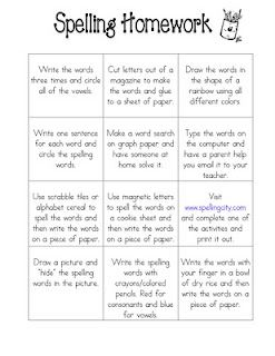 spelling homework idea.  Also she has several in-class ideas for spelling practice as well as a parent sheet to help parents help their children.