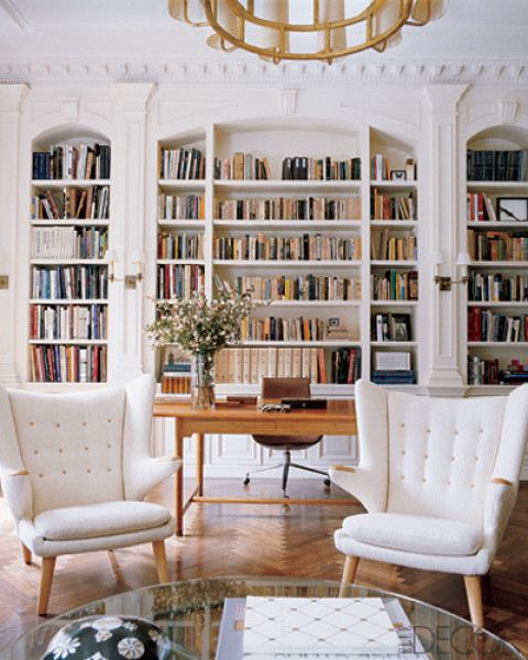 home office: Bookshelves, Home Libraries, Built In, Offices, Chairs, Living Room, Builtin, Book Shelves, Bookca