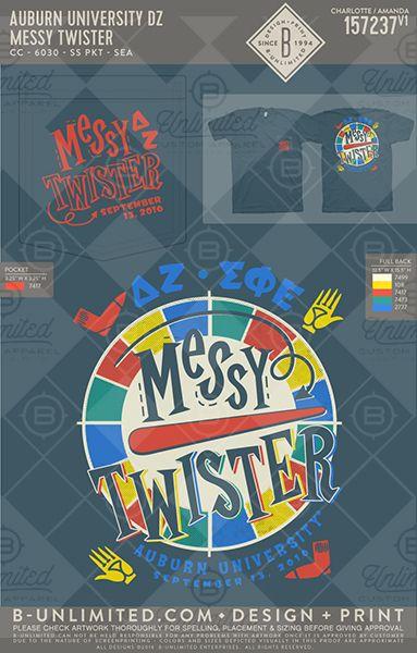 Messy Twister! Auburn- Delta Zeta #BUonYOU #greek #greektshirts #greekshirts #sorority #fraternity #DeltaZeta #DZ #functions #mixers