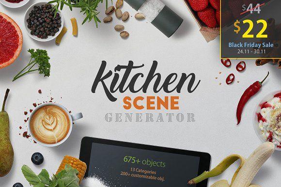 Kitchen Scene Generator by h3design on @creativemarket