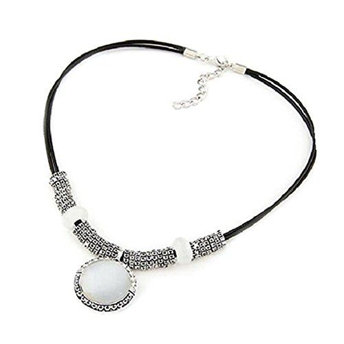Susenstone Fashion Rhinestone Opal Crystal Pendant Leather Necklace Sweater Chain.More info for foot chains and anklets;stone anklets;buy silver anklets online;real silver anklets;one leg anklet could be found at the image url.(This is an Amazon affiliate link and I receive a commission for the sales)