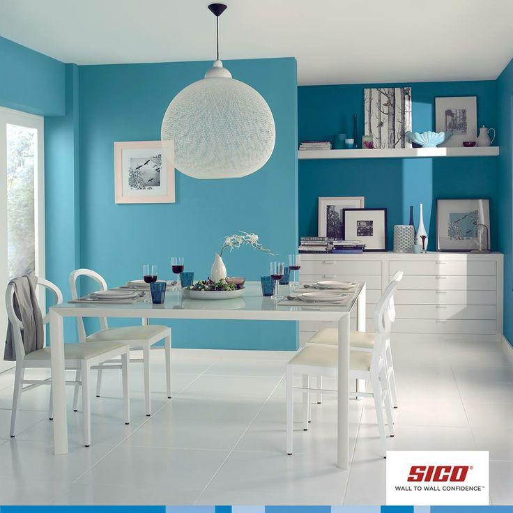Blue can soothe frayed nerves in the kitchen. Burst of Blue (6152-53) from Sico Paints   Le bleu peut apaiser le corps et l'esprit, Éclat bleuté (6152-53) de Sico.