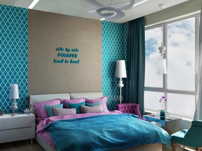 Дизайн интерьера спальни, синяя спальня фото