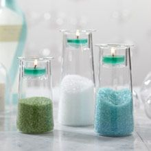 relaxing spa bathroom decoration ideas, place bath salts or soaps inside candle holder to display beautiful colors, green, blue, white, clean