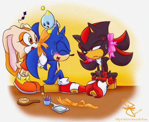 Cream and Cheese are styling Sonic and Shadow the Hedgehog's quills... The girl and her chao look happy enough, but I can't say the same for the guys...