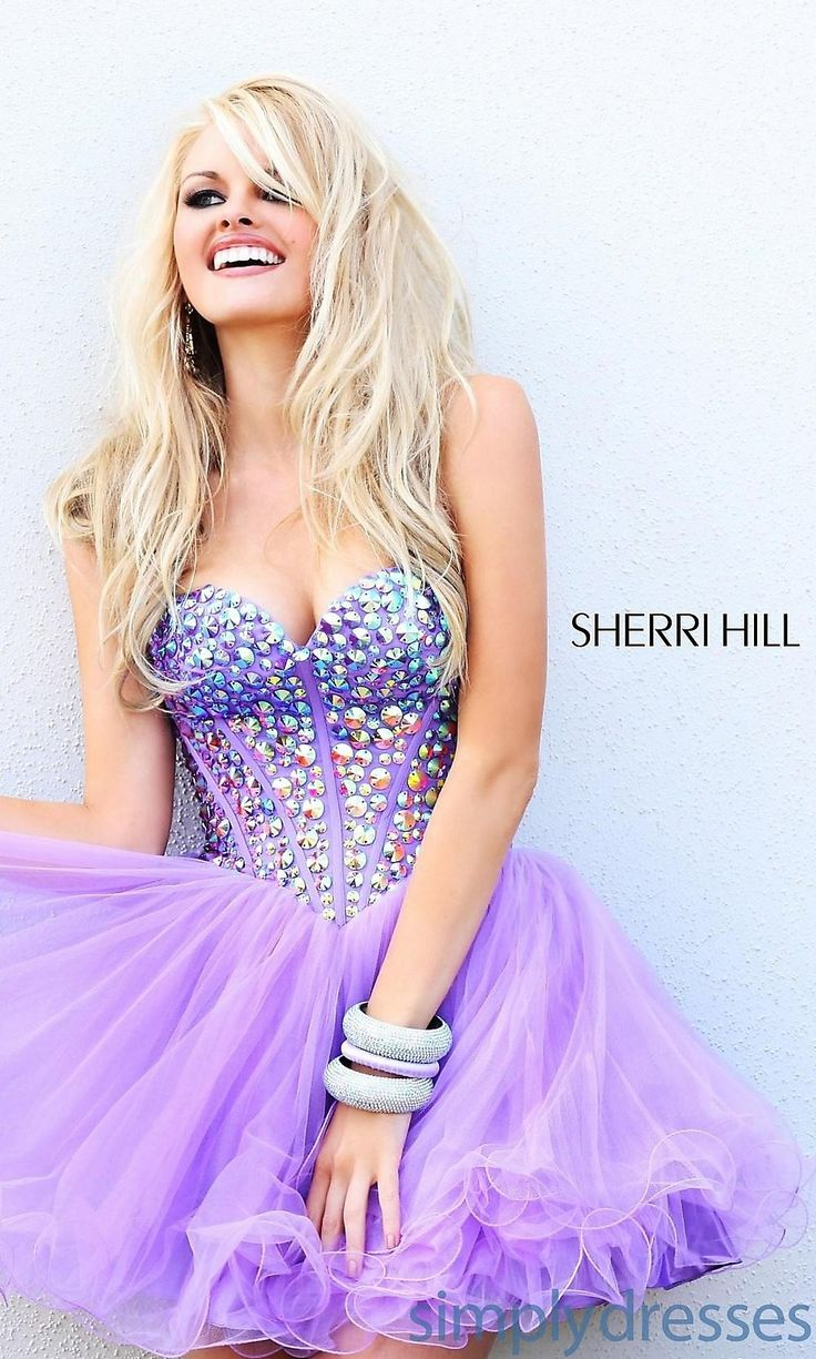 Allure Sweetheart Strapless A-line Short Beaded Sweet Babydoll Cocktail/cute/club Dress By Sherri Hill Sh-21101 #prom dresses #promdresses2014 #promdresses2014sherrihill
