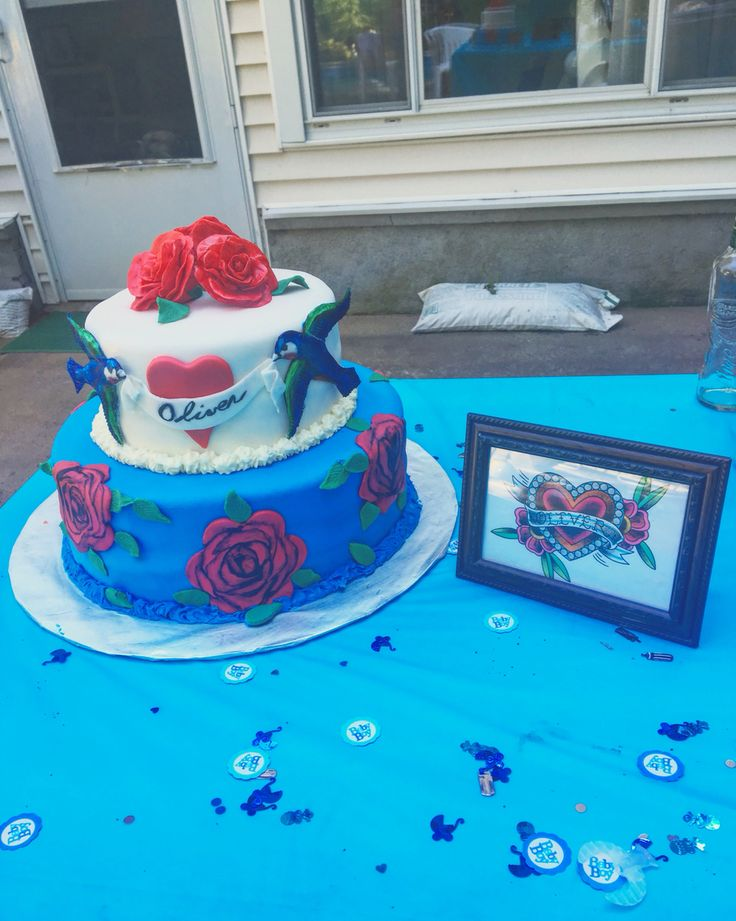 Oliver's rockabilly/tattoo inspired Baby Shower cake!