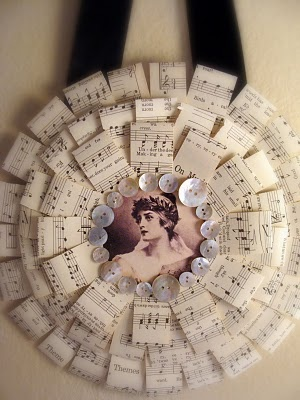 Sheet Music Wreath-- I'd put a Christmas image in the middle and some glittery buttons.