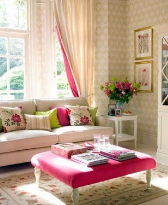 Living Room Pink Square Upholstery Fabric Ottoman Coffee Table White Upholstered Fabric Loveseat Sofa Sweet Floral Pattern Pillow Romantic Living Room Design Ideas Creative Living Room Paint Ideas That Might You Haven't Seen !!