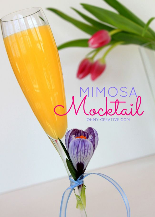 Serve a Non Alcoholic Mimosa Mocktail for any special occasion brunch  |  OHMY-CREATIVE.COM