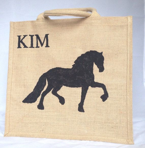 Friesian horse hand painted jute shopping bag by DestinationJute