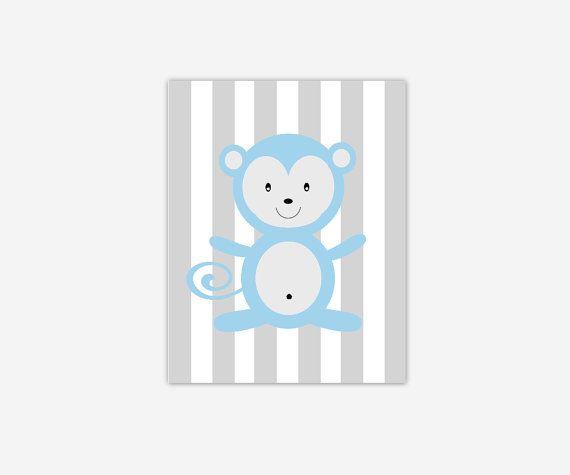 Baby Boy Nursery Wall Art Blue Gray Grey Monkey Canvas Prints Baby Boy Girl Nursery Decor  sc 1 st  Pinterest & 148 best Single Baby Boys u0026 Girls Nursery Canvas Prints images on ...