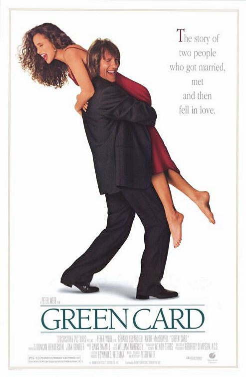 Green Card (1990) With Gerard Depardieu and Andie MacDowell as two people with ulterior reasons for marrying and, of course, end up falling for each other.