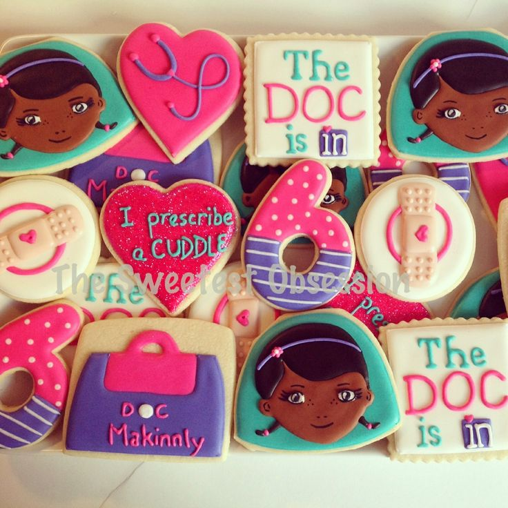 Doc McStuffins decorated cookies!  Facebook.com/thesweetestobsession
