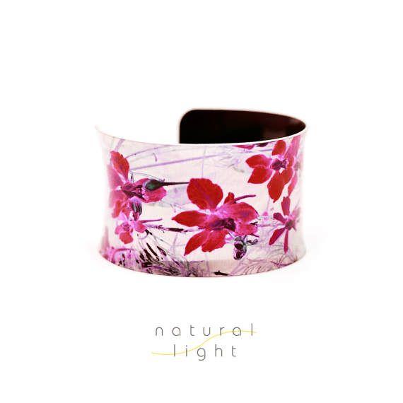 Bridesmaid Gift Floral Cuff Bracelet Midnight Garden Red