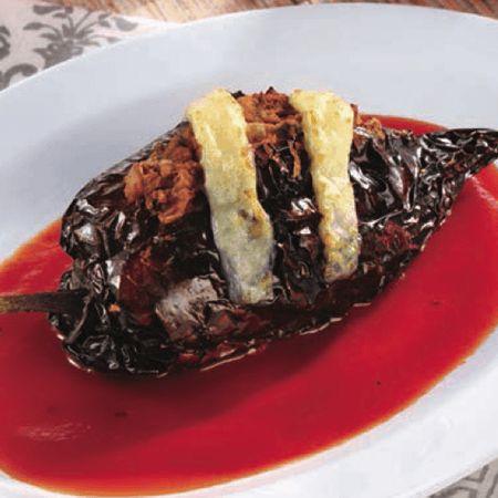 Chile ancho con frijoles