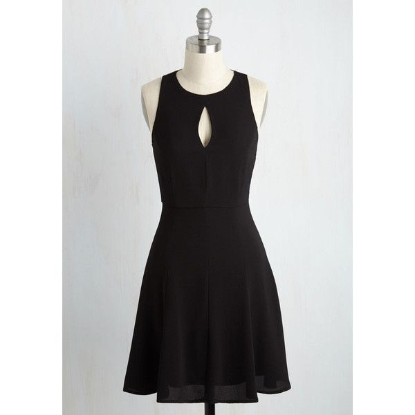 LBD Mid-length Sleeveless A-line Keen About Keyholes Dress ($60) ❤ liked on Polyvore featuring dresses, apparel, black, fashion dress, cut-out dresses, sleeveless dress, key hole dress, sleeveless cocktail dress and cut out cocktail dresses