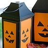 Jack-o'-Lantern Luminarias...place faces behind the lantern's glass panels...backlight with battery operated lights