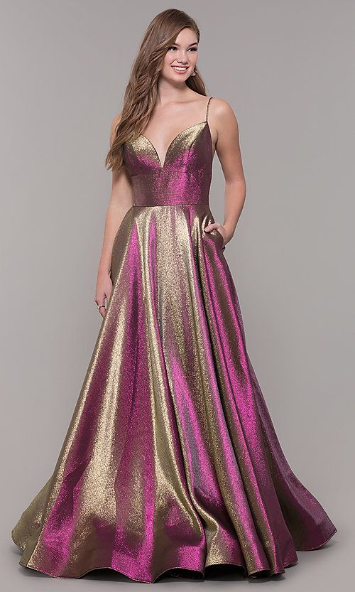 8898054b738ea Long A-Line Iridescent V-Neck Prom Dress in 2019