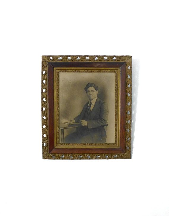 Antique edwardian large gilt framed photographic by evaelena