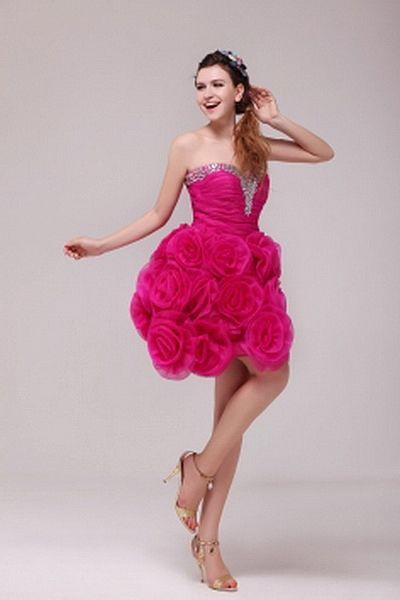 Straps Organza Pink Formal Dresses ted2210 - SILHOUETTE: A-Line; FABRIC: Organza; EMBELLISHMENTS: Beading , Flower , Draped , Crystal; LENGTH: Short - Price: 167.0000 - Link: http://www.theeveningdresses.com/straps-organza-pink-formal-dresses-ted2210.html
