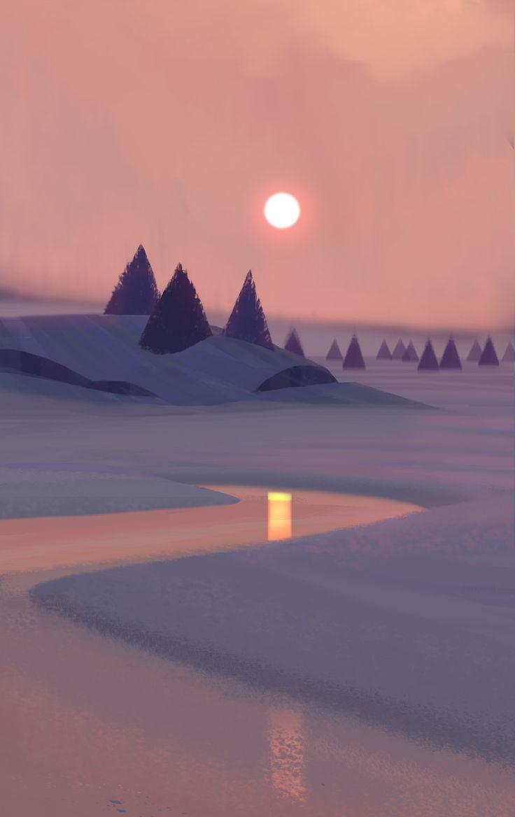 Snowy Landscape, Allison Perry on ArtStation at https://www.artstation.com/artwork/k2ybd