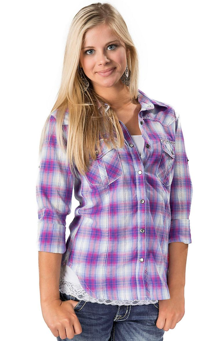 Rock & Roll Cowgirl® Women's Blue, Pink and White Plaid Long Sleeve Western  Shirt